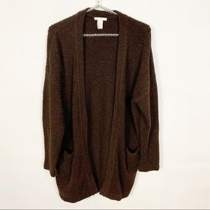 H&M l Womens Brown Open Front Cardigan